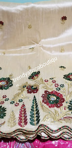 Clearance item: Premium Taffeta Silk George wrapper. Sold in 5yds. Nigerian embroidery silk George with beads and stones. Bone color Indian-George . Sold 5yds