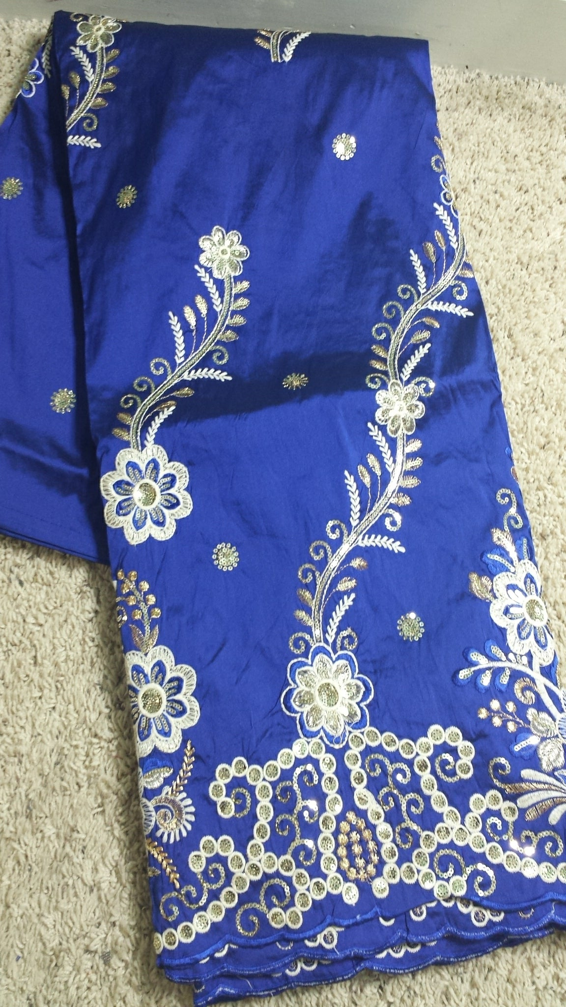 Fancy India embroidery silk George fabric. Original quality. Sold 5yds only. Royal blue  Ready to ship