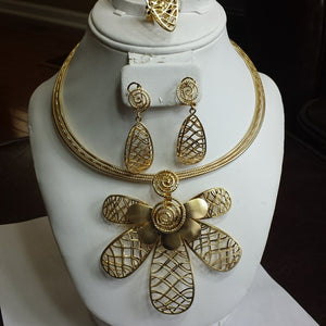 18k Gold plated necklace set, 4 pcs. costume jewelry set for party or church  use.
