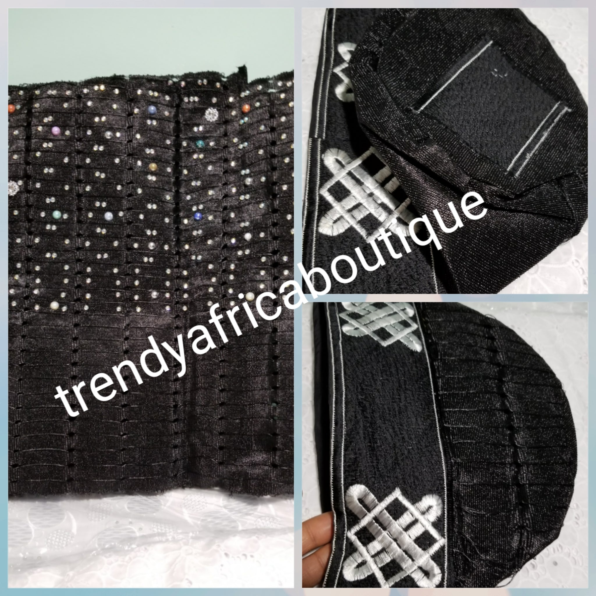 Black Gele/Head wrap Traditional Nigerian Aso-oke  with stones/beads boarder. Sold as Gele only. 68 inch long by 19inch wide