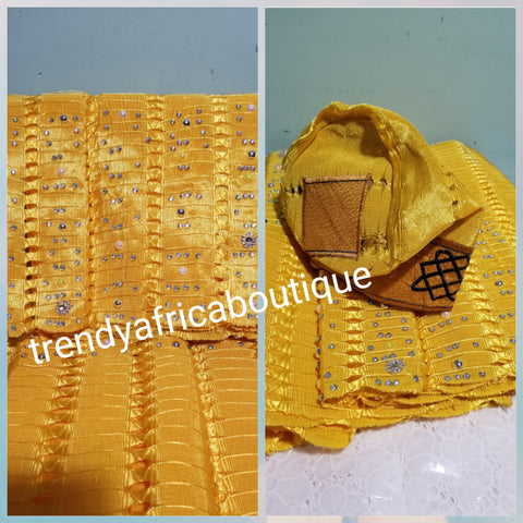 Beaddazzled Nigerian Traditional wedding aso-oke/Head wrap in beautiful yellow color Sold as Gele only. Measure 72 inches long and 19inches wide