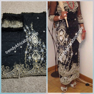 1st lady Igbo  Traditional wedding hand stoned Silk George wrapper. Black Big  madam celebrant 2.5yds + 2.5yds wrapper + matching blouse as shown on model