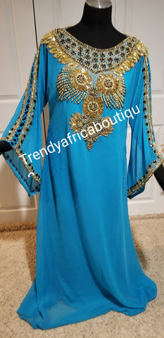 Turquoise blue long Kaftan dress. Indian/Dubai long free flowimg chiffon kaftan dress. Can be use for evening dress