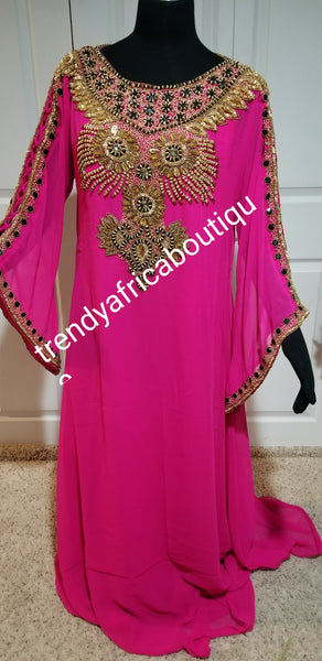 Fuschia pink  Kaftan dress. Indian long Kaftan dress. Dubai free flowimg 60 inch long kaftan dress. Evening dress in Hot pink