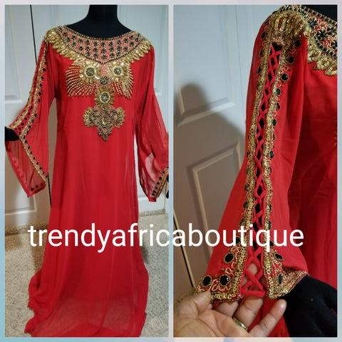 "RED free flowing India Kaftan dress. Free flowing 60"" long in Medium size. Quality beaded and stoned Dubai kaftan dress"