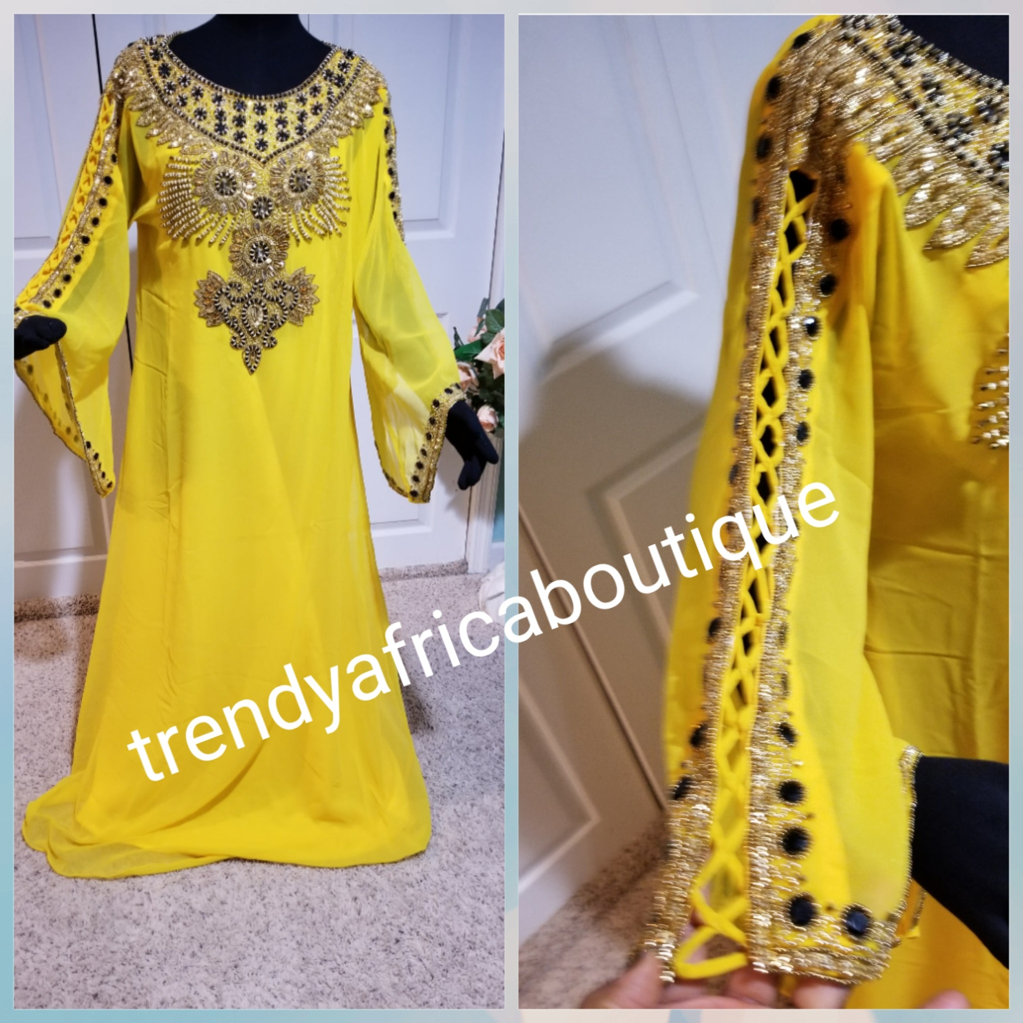 Beautiful sweet Yellow color Dubai long Kaftan dress. Available in size XL. Original quality beaded and stoned.