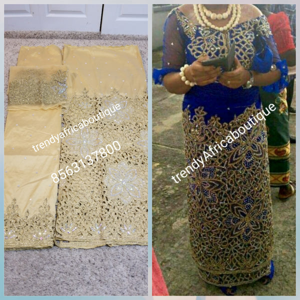 New arrival VIP Gold Color VIP hand Stoned Celebrant George wrapper for Nigerian Ceremonies. Sold with Matching net blouse