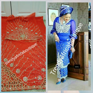 VIP hand stoned Georges. Supper quality Silk George wrapper  in Red. Traditional Nigerian Wedding George Wrapper and matching blouse