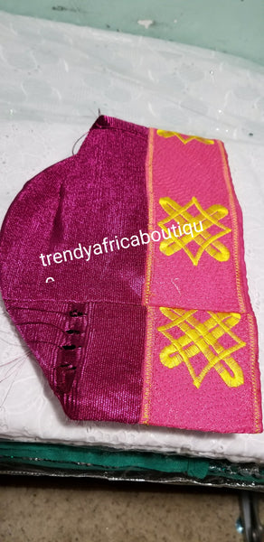 Fuschia pink Aso-oke Embroidery Agbada Cap for men. African/Nigerian  men-cap for party and ceremonies. This size is 22.5 Inches wide