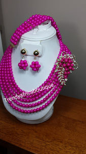 Clearance sale: hot pink multi rows beaded  necklace set with side broach sold as a set. 3pcs set.beaded-necklace, coral-necklace