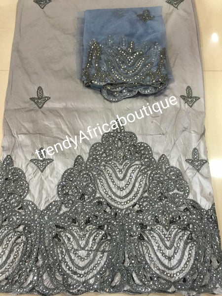 Classic color Silver/Gray silk embriodery George wrapper. Ideal for Nigerian party dress making. Small-George Combin 5yds and 1.8yds matching net blouse
