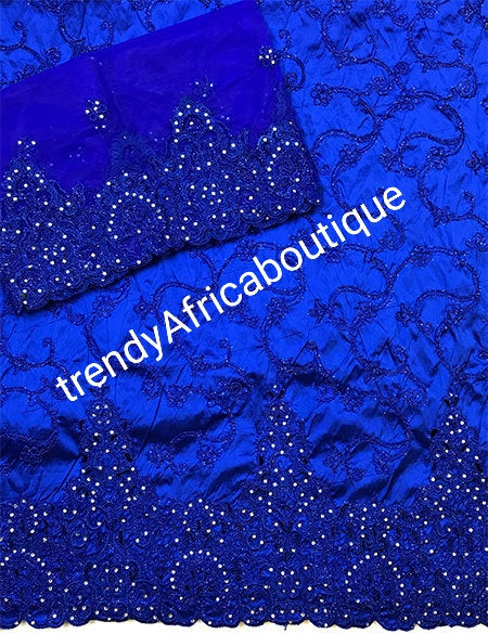 Clearance embriodery Royalblue Silk George wrapper and matching blouse combination. Small-George Embellished with Crystal stones.