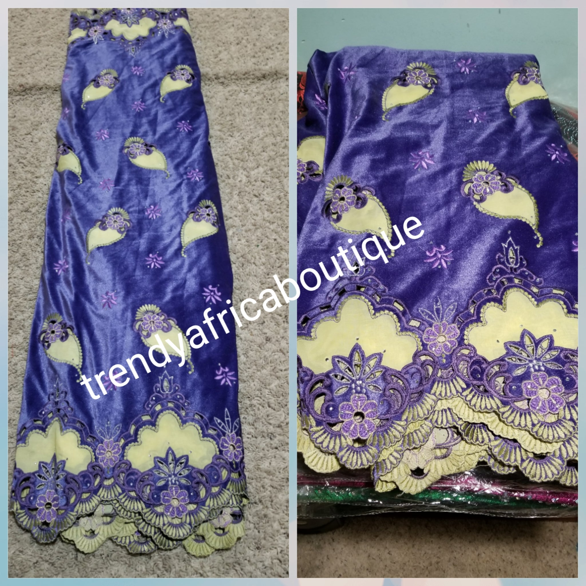 Sale: Classic Purple Velvet lace wrapper for Nigerian Traditional wedding/ceremonies. Hand cut and stones, beautiful border design with quality embriodery work. Sold per 5yds each
