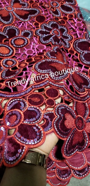 Sale sale: Quality handcut Lace Velvet Wrapper. Wow factor design velvet fabric for that special occasion. Sold per 5yds. Available in wine or orange color.