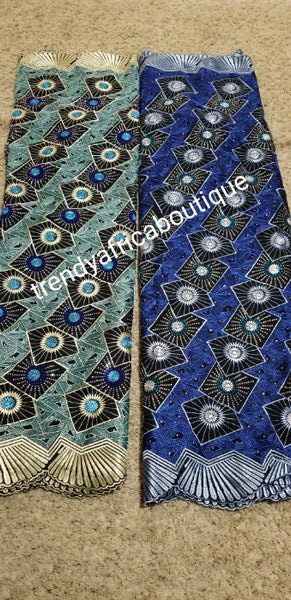 Quality Swiss Lace fabric embellished with dazzling Crystal stones. Sold pet 5 yards. Doft Luxury quality