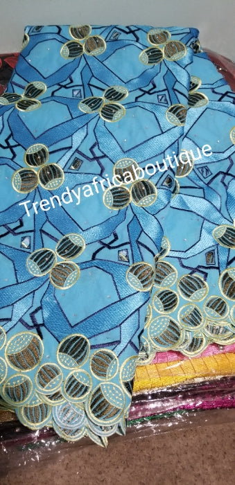 Special Sale: Quality African Swiss Lace Fabric for Nigerian party dress. Sold per 5yards. Original quality lace fabric. Turquoise blue/cream embroidered Swiss lace
