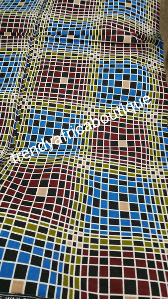 High quality Ankara wax print fabric. Sold per 6yds for making dresses or skirt. 6yds length. 100% cotton