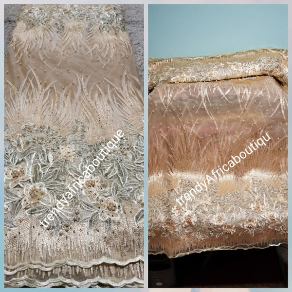 High Quality Champagne Gold beaded net French lace fabric for making evening party dresses. African french lace sold as 5 yards lenght and price is for 5yards