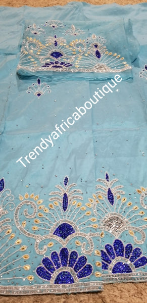 Back in stock Sky blue taffeta Silk George fabric with Matching blouse. Original/quantity India Silk George.  Sold as set of 5 yards + 1.8yds blouse