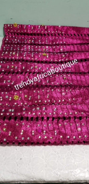NIGERIAN traditional Aso-oke Gele/head wrap. Hand woven and beaddazzled border for perfect headwrap finish. This is fuschia pink.