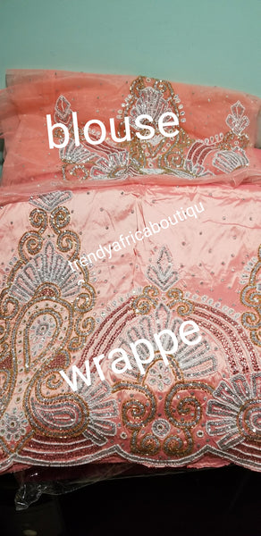 Sale sale: Peach Premium Raw Silk George wrapper fabric, quality Hand Stoned work for Nigeriasn women ceremonies. Sold 5yds + 1.8 Yards net blouse fabric