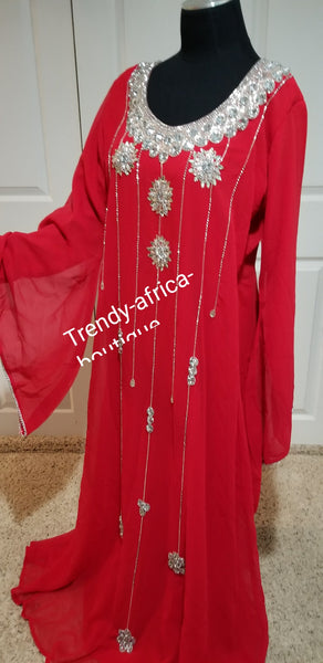 "Red free flowimg Kaftan dress on sale. 60' long size Medium fit 44"" Burst. Inner dress have belt for easy adjustments. Beaded with dazzling Crystal stones to perfection"