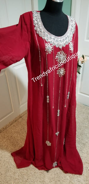 "Wine Red Indian kaftan long dress hand beaded with silver Crystal stones to perfection. Size Large, fits size 46"" Burst. Comes with inner belt for fit adjustment"