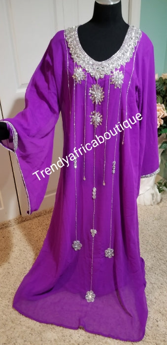 "Clearance: Purple long free flowimg Kaftan dress embellished with silver dazzling Crystal stones. Size Large- fit  size 46"" Burst. The inner dress comes with a belt for fit adjustment"