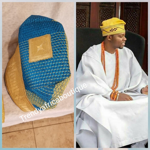 Turquoise blue Nigerian Tradional wedding accessories: Agbada embriodered men-cap. Made with Aso-oke . TURQUOISE blue/yellow Gold design. Groom cap