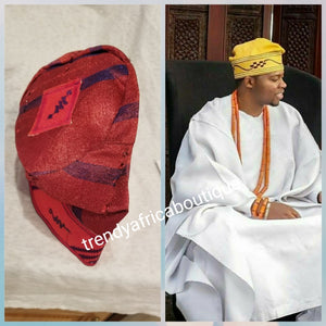Nigerian Agbada Men-cap made with Aso-oke fabric with embroidery design. This is Wine/royal blue color.