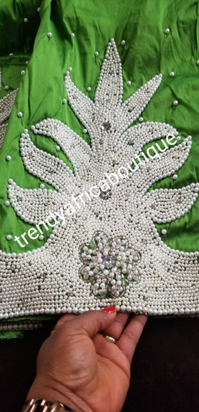New arrival high quality  Raw Silk Indian George wrapper/fabric.  hand Stoned work Nigerian women celebrant fabric. Sold 5yds + 1.8yard matching net blouse. Rich Green