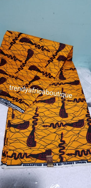 100% Cotton Quality African/Ankara wax print Fabric. This design is called Openner. Beautiful yellow. Sold per 6yards/piece, price is for 6yard