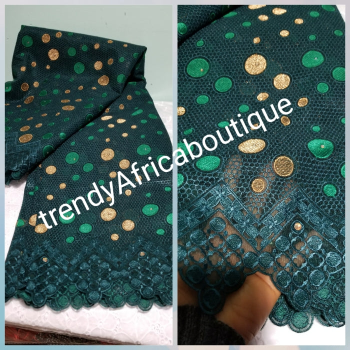 Nigerian party Fabric. Green color Top quality African French lace fabric: Swiss quality. Sold per 5yds, price is for 5yds. Great Quality