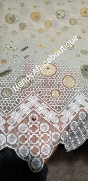 Cream color African/Nigerian French Lace fabric sold in 5yds. Original Swiss Quality. Great Texture.