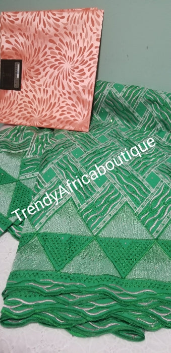 Bonus Sale: Original quality African Swiss Voile Lace fabric for making party dress. Beautiful green sold with free peach headtie. Sold per 5yds.