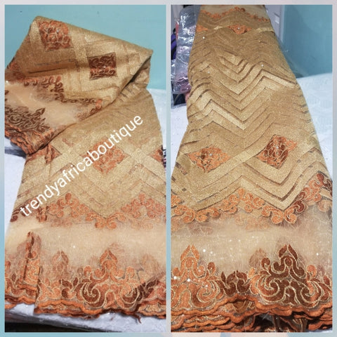 New arrival hot selling Gold French lace fabric. African sequence/embroidered French lace for party dress. Sold per 5yds.