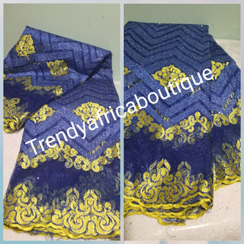 Clearance: Royal blue/yellow embriodery sequence French lace fabric for men and women Party wear
