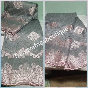 Gray/light Pink African French lace fabric. Sold per 5yds. Price is for 5yds. Beautiful embroidered sequence lace.