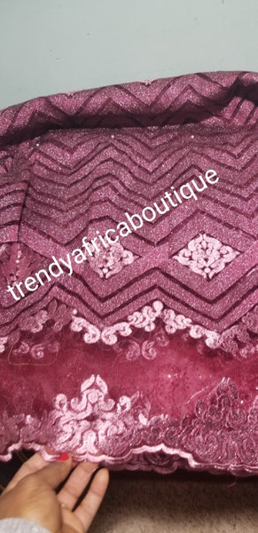 Clearance: Wine color African Embriodery sequence French lace fabric.  Sold per 5yds. Soft great texture for making African party wear