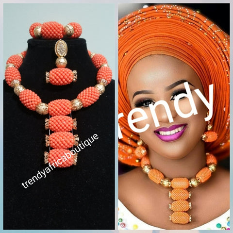 New arrival Coral-necklace set in sweet coral color. Sold as a set. Coral necklace/earrings/bracelet for Nigerian party use