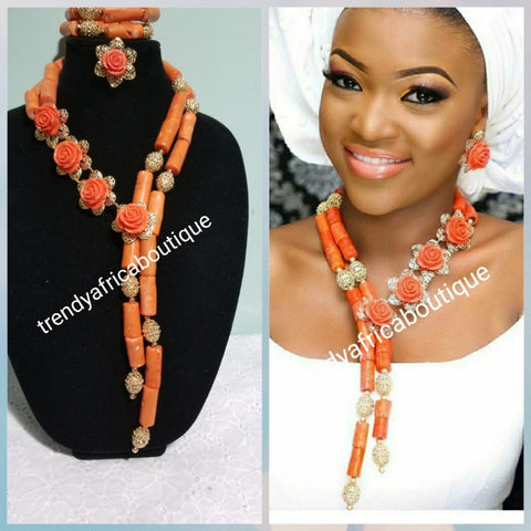 New Design of Edo/Nigerian Traditional wedding Coral beaded-necklace set. Sold as a set of necklace, bracelet and earrings. Price is for the set