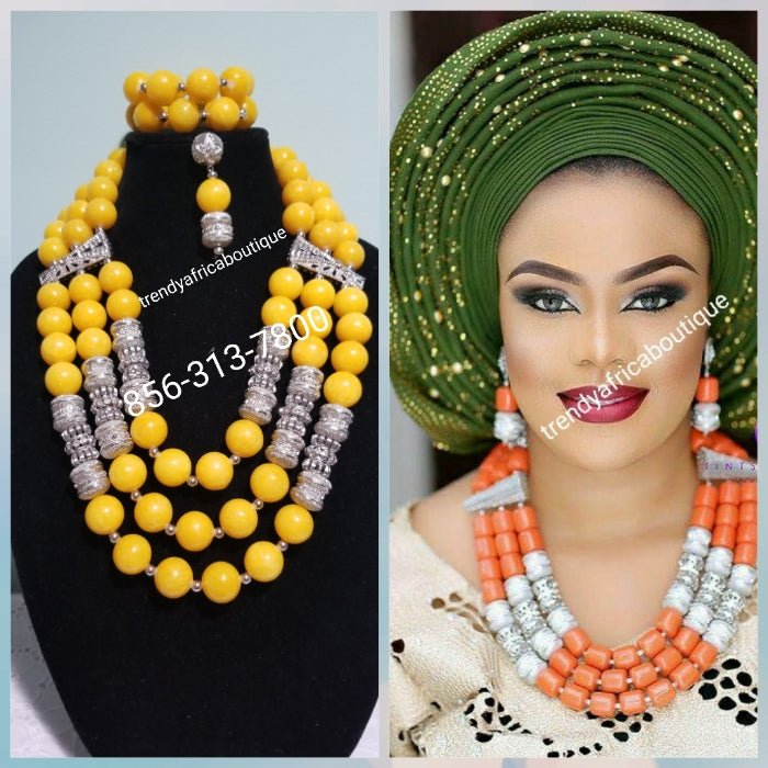 3 row original Coral-necklace set in yellow and silver accessories. Nigerian Celebrant beaded necklace/bracelet/earrings set. Nigerian Traditional wedding beads