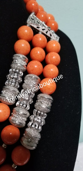 Original Edo Coral beaded necklace set in 3 roll Nigerian Tradional Coral bead set. Celebrant/Red carpet coral necklace with bracelet and earrings