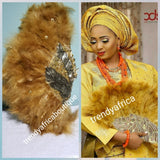 Latest Gold Feather hand fan. Nigerian Traditional wedding accessories for celebrant. Beaddazzled with sequence handle