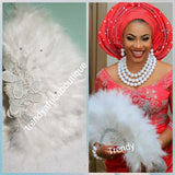 Latest design White Feather hand fan fashion Accessories for Nigerian traditional wedding. Bride or celebrant accessories.