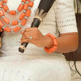 Nigerian Traditional Bridal Accessories, Coral bead Bracelet. Original quality. Made with real coral beads. Use by men and women. Coral color. Coral-necklace also available
