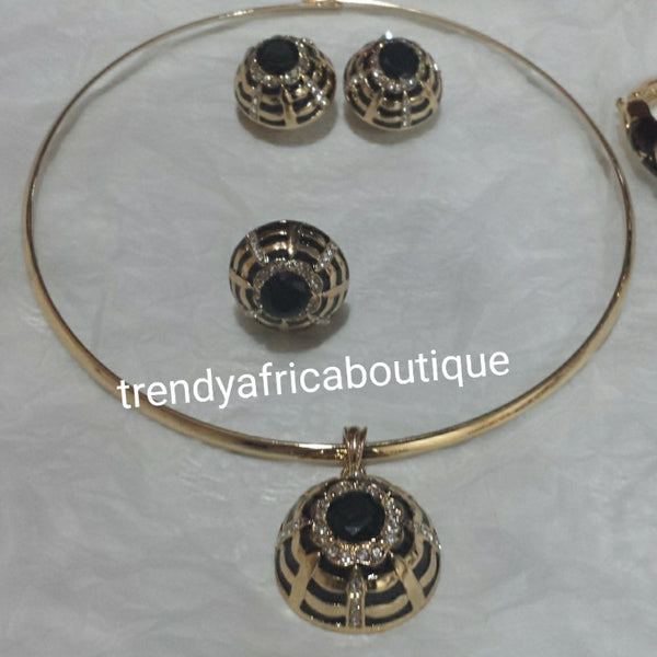 5pcs. Choker set. Omega necklace set in 18k electroplated costume jewelery set with black stones.  Bangle/ring/earrings/pendant necklace and Omega chain