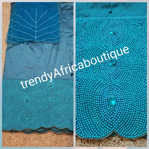 Classic Teal blue Hand Beaded Quality Silk George wrapper for Nigerian big party. Sold in 5yds and 1.8 yards matching blouse