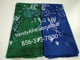 Top quality embriodery/stoned African French lace fabric. Swiss made.sold per 5yds. Beautiful Royal blue.