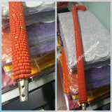 "Coral bead walking stick for men. 35"" long from top to bottom. Nigerian Traditonal wedding accessories for men. We also have coral-necklace set"